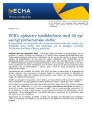 ECHA opdaterer kandidatlisten med 20 nye særligt ... - ECHA - Europa