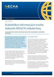 Kokybiškos informacijos svarba laikantis REACH ... - ECHA - Europa