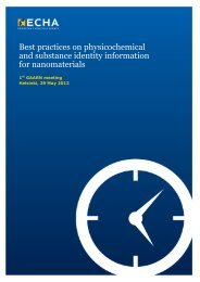 Best Practices on physicochemical and substance ... - ECHA - Europa
