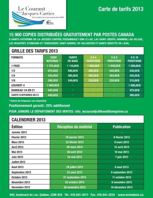 Carte de tarifs 2013 - MRC de La Jacques-Cartier