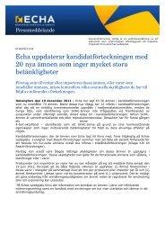 Echa uppdaterar kandidatförteckningen med 20 ... - ECHA - Europa