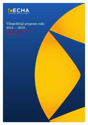 Višegodišnji program rada 2014. – 2018. - ECHA - Europa