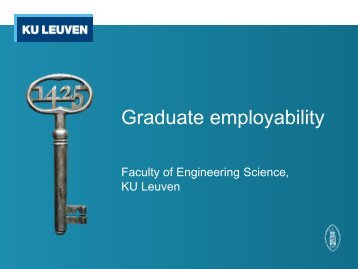 Employability issues at Faculty of Engineering Science, KU Leuven