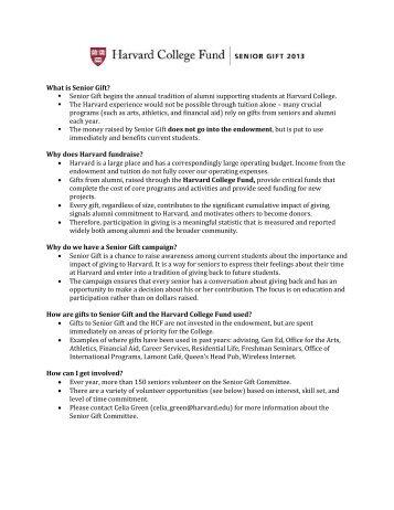 What is Senior Gift? Senior Gift begins the annual ... - Harvard Alumni
