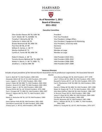 As of November 1, 2011 Board of Directors 2011 ... - Harvard Alumni