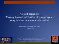 Not just detection: Moving towards attribution of change ... - Landsat