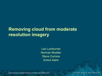 Removing cloud from moderate resolution imagery - Landsat