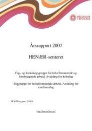 Årsrapport 2007 HENÆR-senteret - Høgskolen i Vestfold