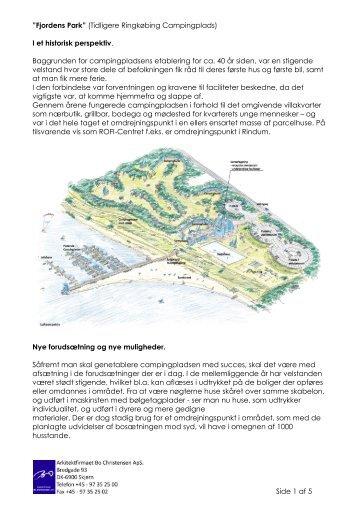 """Side 1 af 5 """"Fjordens Park"""" (Tidligere Ringkøbing Campingplads) I ..."""