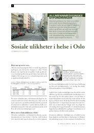 Sosiale ulikheter i helse i Oslo. Av Bjørgulf Claussen - Utposten