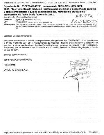 Comentario de particulares - Cofemermir.gob.mx