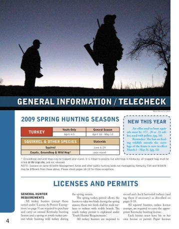 General Information and Telecheck - Kentucky Department of Fish ...