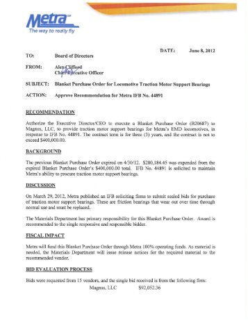 Blanket Master Purchase Agreement For Event Recorder    Metra