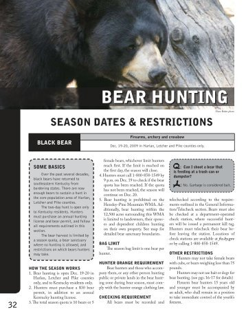 bear hunting - Kentucky Department of Fish and Wildlife Resources
