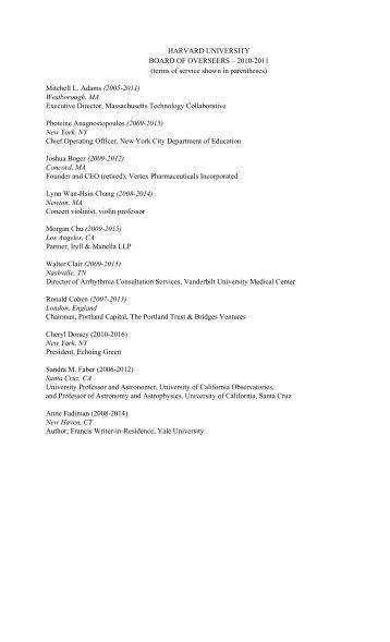 HARVARD UNIVERSITY BOARD OF OVERSEERS – 2010-2011 ...