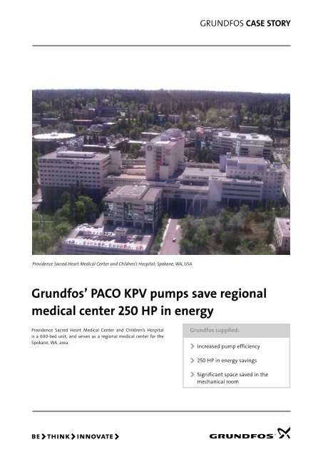 Grundfos' PACO KPV pumps save regional medical center 250 HP