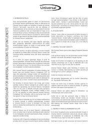 abonnementsvilkår for universal telecoms telefonitjeneste