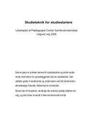 Studieteknik for studiestartere - Det Samfundsvidenskabelige ...