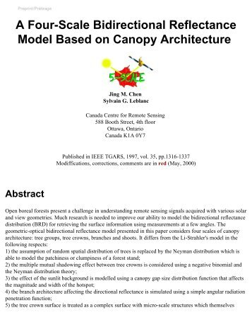 A Four-scale Bidirectional Reflectance Model Based on ... - GeoGratis