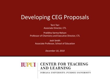 Developing CEG Proposals - Center for Teaching and Learning ...