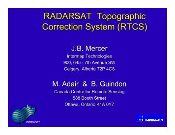 RADARSAT Topographic Correction System (RTCS) - GeoGratis