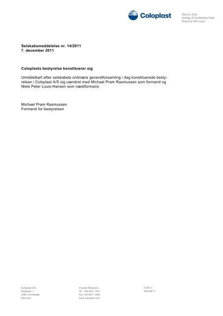 Selskabsmeddelelse nr. 14/2011 7. december 2011 Coloplasts ...