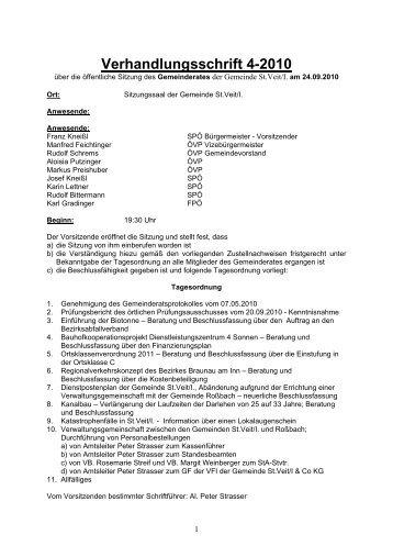 Verhandlungsschrift 4-2010 - Gemeinde St. Veit/Innkreis