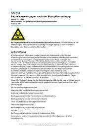 BGI 853 Betriebsanweisungen nach der Biostoffverordnung