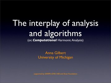 The interplay of analysis and algorithms - DIMACS