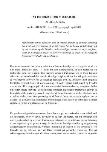 NY INTERESSE FOR MYSTICISME Af Alice A. Bailey Artikel i ...