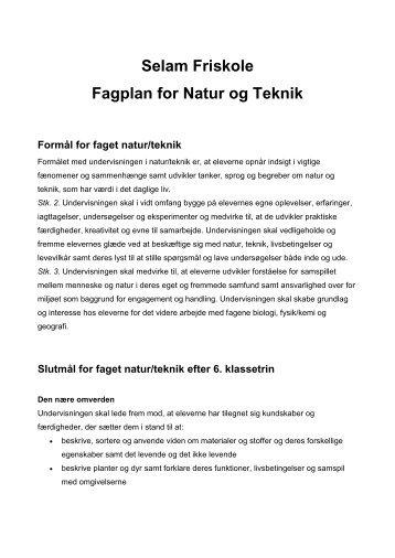 Fagplan for Natur og Teknik - Selam Friskole