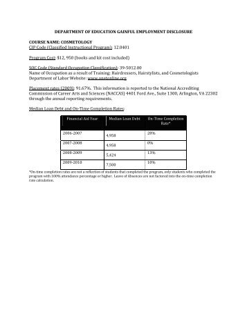Welcome To The Ed Gainful Employment Program Disclosure Template