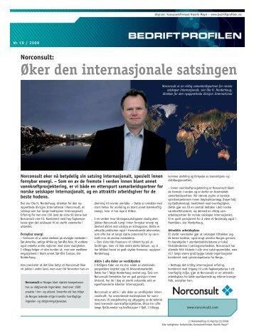 Øker den internasjonale satsingen Norconsult - Bedriftprofilen