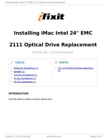 "Installing iMac Intel 24"" EMC 2111 Optical Drive Replacement - iFixit"