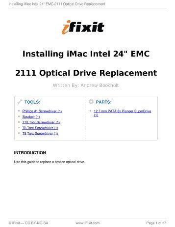 "Installing iMac Intel 24"" EMC 2111 Optical Drive Replacement - iFixit"