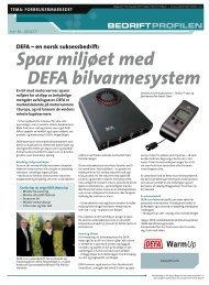 Spar miljøet med DEFA bilvarmesystem - Bedriftprofilen