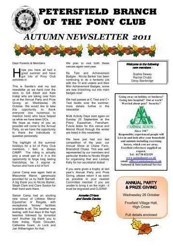 Autumn Newsletter 2011 - The Pony Club Branches
