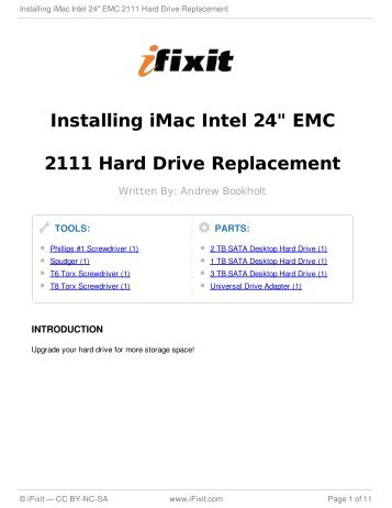 "Installing iMac Intel 24"" EMC 2111 Hard Drive Replacement - iFixit"