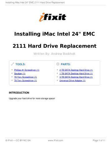 "Installing iMac Intel 24"" EMC 2111 Hard Drive Replacement - iFixit"
