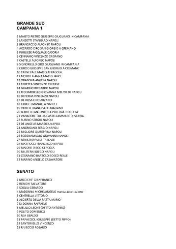 GRANDE SUD CAMPANIA 1 SENATO - Corriere del Mezzogiorno