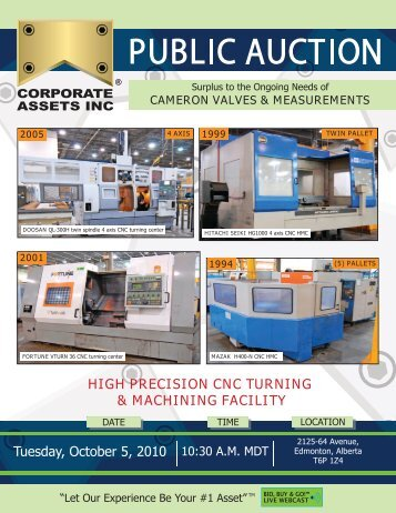 high precision cnc turning & machining facility - Corporate Assets Inc.