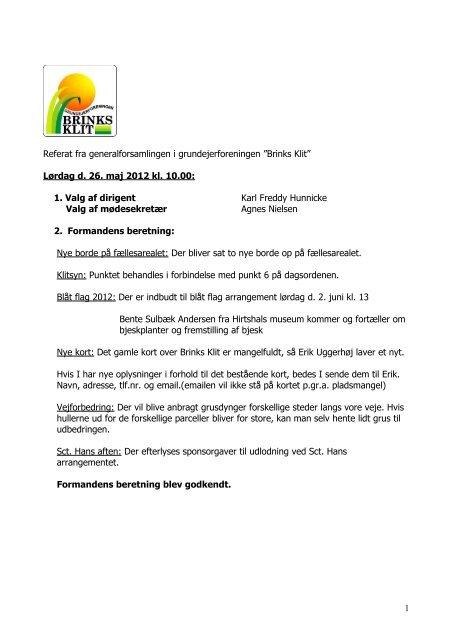 Referat fra generalforsamlingen i grundejerforeningen ... - Kjul Strand