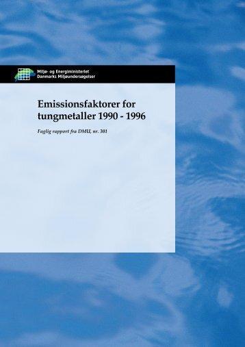 Emissionsfaktorer for tungmetaller 1990 - 1997