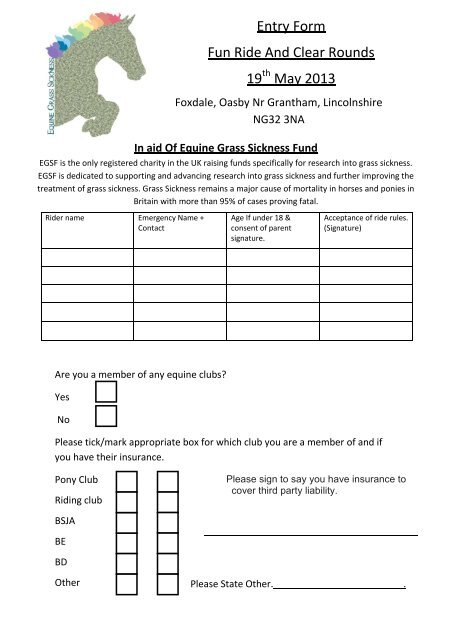 Fun Ride Entry Form - The Pony Club Branches