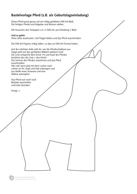 Bastelvorlage Pferd Die Erbsenprinzessin