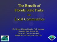 The Benefit of Florida State Parks to Local Communities