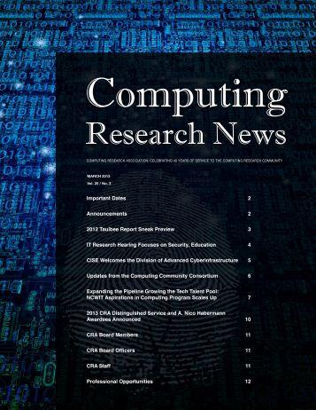 Download PDF Version - 3.4 Mb - Computing Research Association