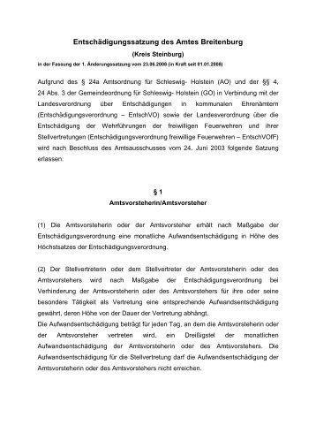 D01-Entschädigungssatzung des Amtes Breitenburg - Amt Breitenburg