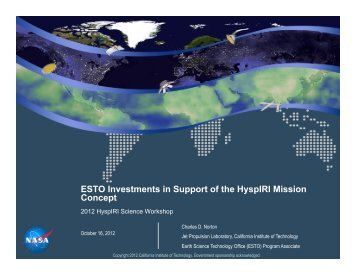 ESTO Investments in Support of the HyspIRI Mission Concept