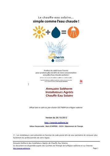 Annuaire Soltherm des Installateurs et ... - Energie Wallonie
